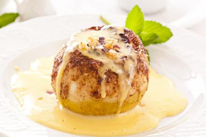 Apfel überbacken mit Vanillesauce